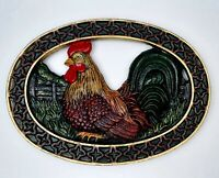 Rooster Cast Iron Trivet Farm House Animals Hand Painted Thick Heavy Vintage