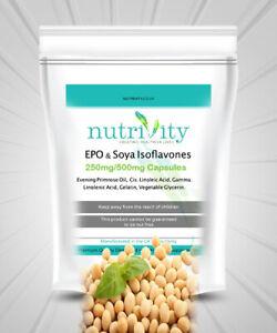 Soy Isoflavones 750mg Vege Capsules Nutrivity UK for Menopausal Symptoms Relief