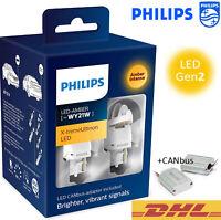 PHILIPS WY21W LED Amber+CANbus X-tremeUltinon Gen2 Car Turn Signalling Bulbs 12V