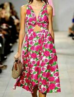 New $3,200 Michael Kors Collection Peony Floral Cutout Runway Dress IT 42 / US 6