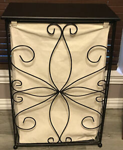 "Farmhouse Metal Wood Canvas Laundry Bin Hamper Storage Rustic Basket Box 32""x21"""