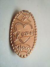 I Love You - heart border - elongated zinc penny