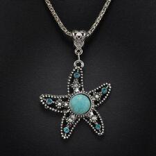 Stylish Bib Necklace with Tibetan Silver Turquoise Star Pendant (45+6cm)