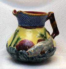 VINTAGE MAJOLICA JUG SHORTER & SONS OCEANIC FISH SHELLS 5 1/2 inches