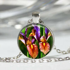 Purple Iris Tibet silver dome Glass Cabochon Necklace chain Pendant #417