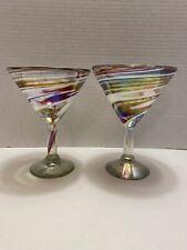 (2) Hand Blown Martini Glasses Swirl Red & White Iridescent Made in Mexico