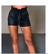 Ladies Ikrush Faux Leather Paperbag Shorts Size Large Look!!! New!!