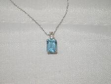 "10k White Gold Blue Topaz & CZ Pendant Necklace 18"""