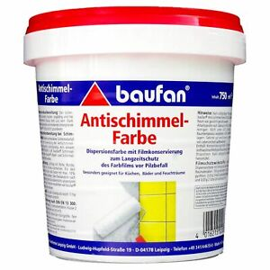 Baufan Antischimmel-Farbe 750 ml Dispersionsfarbe lösungsmittelfrei (5,99€/1l)