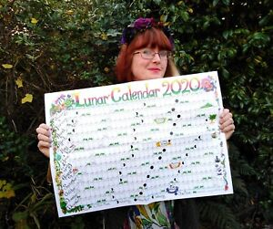 Large 2022 Lunar Moon Calendar Pagan Wiccan wall planner created in UK poster
