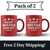 2 Pack - Keep America Great! 2020 Red Ceramic Coffee Mug MAGA Re-Elect Trump Cup