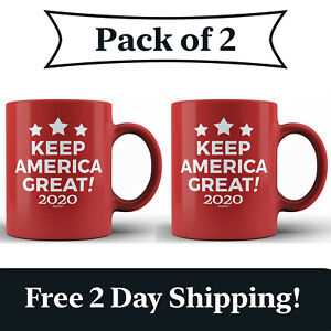 2 Pack - Keep America Great! 2020 Red Ceramic Coffee Mug MAGA Re-Elect Trump Cup