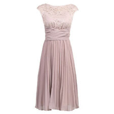 Dusky Pink 1940s Vintage Inspired Chiffon Lace Cocktail Prom Bridesmaids Dress