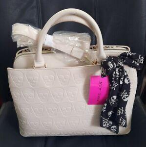 NWT Betsey Johnson Skull Purse Handbag w/ Scarf Halloween Ivory