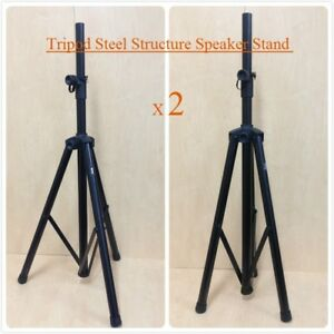 Two (x2) Height Adjustable Haze SS005 Steel Structure Speaker Stand,Tripod foot