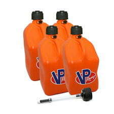 4 Pack VP Racing Orange 5 Gallon Square Fuel Jug/ Extra Cap / Hose Water/Gas Can