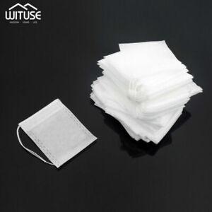 empty teabag disposable filter herb loose leaf tea bag with drawstring 100pcs E