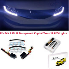 1 Pair L+R 12V 8W Dual Color Tearful Eyes LED Turn Signal Daytime Running Lights