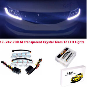 1 Pair L+R 12V 8W Dual Color Tearful Eyes LED Turn Signal Daytime Running Lights