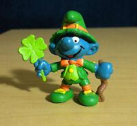 Smurfs 20176 Good Luck Smurf Leprechaun Vintage Figure St Patrick Clover PVC Toy
