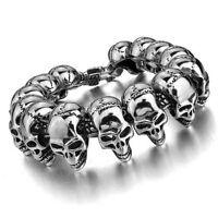 """8""""/8.7"""" Men Heavy Silver Tone Punk Biker Stainless Steel Skulls Bracelet"""