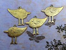 VOGEL Anhänger für Kette Metall gold antik bronze 40 mm 4 Stück 1430