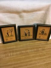 Nancy Thomas Vintage Lot Of 3 Small Prints In Original Frame 5X 4