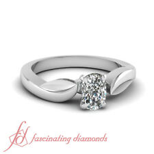 Solitaire Engagement Ring 3/4 Ct Cushion Ideal Cut SI2 Diamond For Women Gold