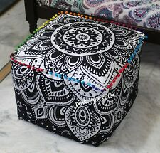 """18"""" Square Ottoman Pouf Cover Indian Black Silver Mandala Seating Footstool Case"""
