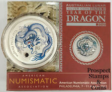 2012 Year of the Dragon Silver Coloured 1oz Silver Coin - Philadelphia ANA show