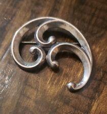 James Avery Retired Sterling Silver Modernist Ornate Wave Swirl Pin Brooch