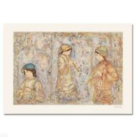 """Edna Hibel """"Music In The Garden"""" Hand Signed Limited Edition Serigraph Art"""