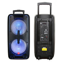 Dual 10'' Portable Bluetooth Rechargeable Party Speaker Mic Remote Control LED