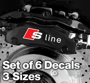 AUDI S-LINE Quality Brake Caliper Decals Stickers - 3 SIZES - 6 DECALS