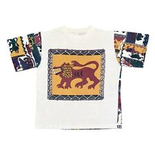 African Animal All Over Colourful Art Print Tshirt | Vintage 90s Single Stitch