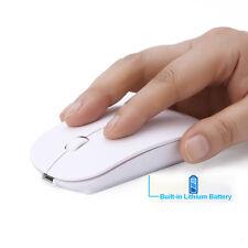 Ratón Inalámbrico 2.4G Ultrafino Bluetooth Recargable para PC Laptop Blanco