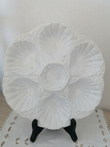 ANTIQUE French Majolica OYSTER PLATE / DIGOIN FRANCE / WHITE