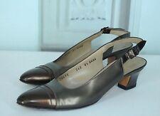 Salvatore Ferragamo Women's Bronze Cap Toe Slingback Heels Size 8.5 AAAA