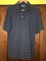 Vineyard Vines Large Blue Blue Striped S/S Polo Shirt Cotton Polyester C49