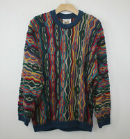 COOGI Australia Cotton Multicolored Textured Knit Vintage Biggie Cosby Style MED