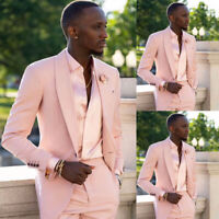 Elegant Pink Shawl Lapel Jacket Men Suit Wedding Formal Tuxedo 2 Pcs Custom Made