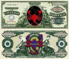 Scorpio Zodiac Million Dollar Bill Fake Funny Money Novelty Note + FREE SLEEVE