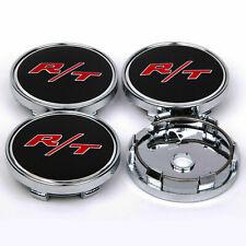 """4Pcs 60mm 2.36"""" RT Racing Wheel Center Caps Hub Aluminium Badge Emblem Sports"""