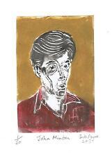 2017 linocut of John Minton neo romantic painter,illustrator,and sensitive soul