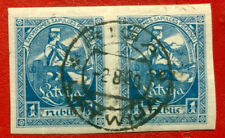 LATVIA LETTLAND 1 RUBLES 1920 PAIR IMPERF. SC 71b USED 998