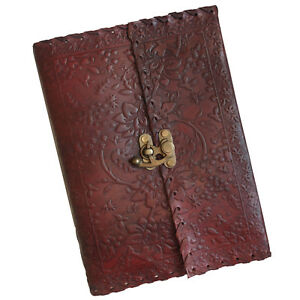"""10"""" Handmade Leather Floral Embossed Sketchbook Diary Handmade Paper 2nd Quality"""