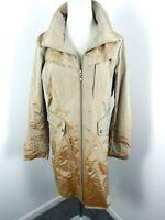 Cole Haan Beige Hooded Zip Rain Coat Trench Women's Jacket size M