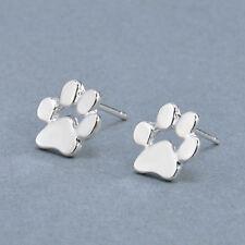 Womens Silver Paw Print Cat Dog Pet Puppy Kitten Party Earrings Stud Jewellery