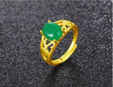 24k Yellow Gold Filled Ring Gems Jade Adjust Flower Charm GF Fashion Jewelry New