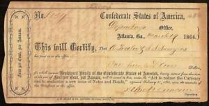 1864 $100 CONFEDERATE STATES ATLANTA INTERIM  DEPOSIT RECEIPT CIVIL WAR PAPER